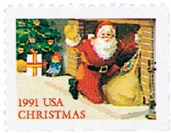1991 29c Contemporary Christmas: Santa in Fireplace
