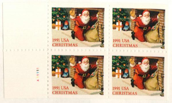 1991 29c Santa at Fireplace,bklt pane 4
