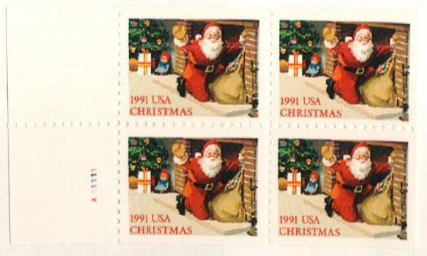 1991 29c Santa at Fireplace,bklt pane 4
