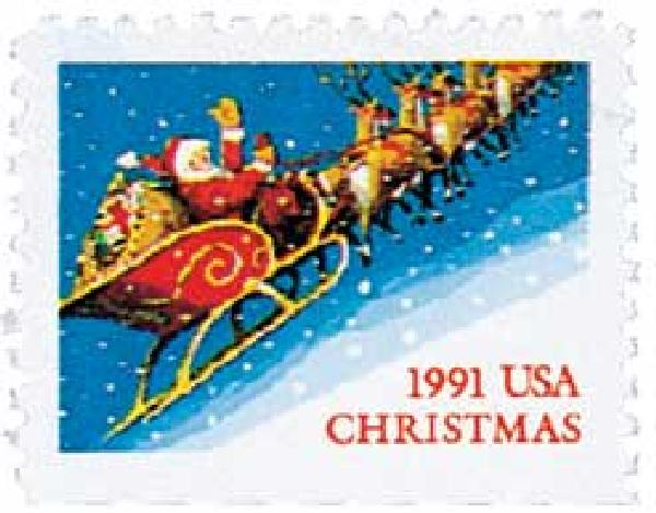 1991 29c Contemporary Christmas: Santa and Sleigh