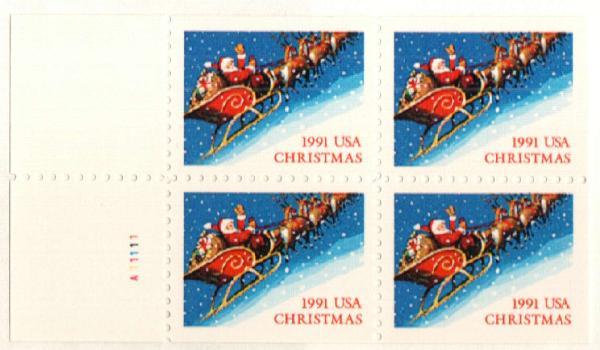 1991 29c Santa and Sleigh,bklt pane 4