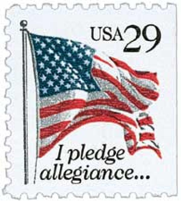 1992 29c I Pledge Allegiance, black denomination