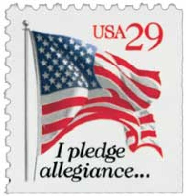 1993 29c I Pledge Allegiance, red denomination