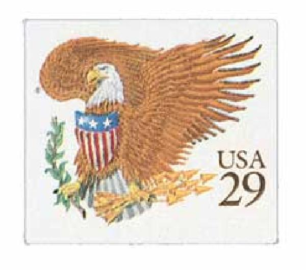 1992 29c Eagle and Shield, brown denomination