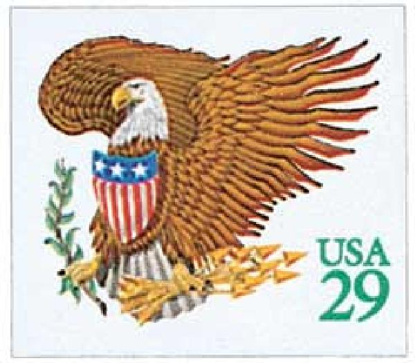 1992 29c Eagle and Shield, green denomination