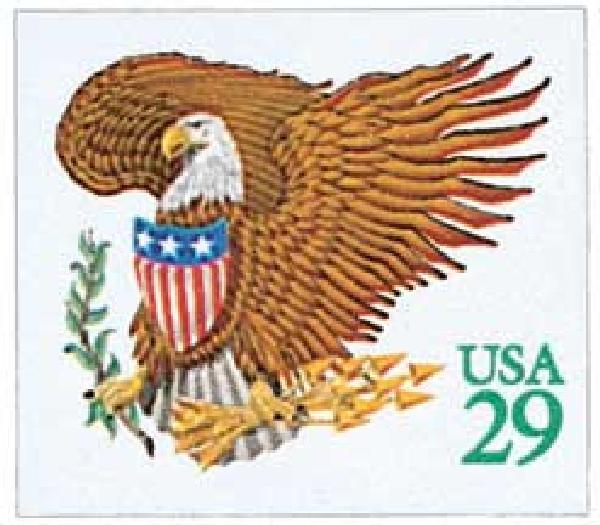 1992 29c Eagle and Shield, green denomination