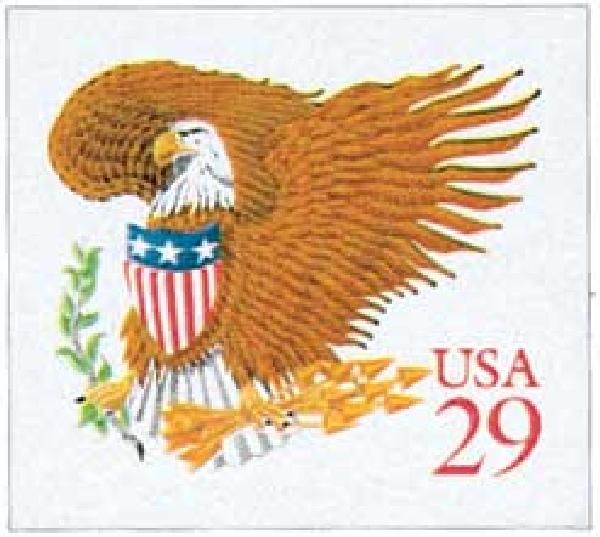 1992 29c Eagle and Shield, red denomination
