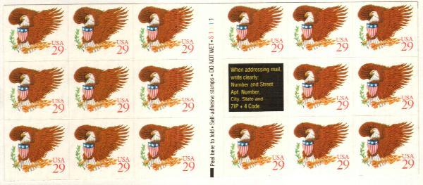 1992 29c Eagle & Shield,red,pane(17+lbl)
