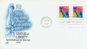1994 29c Statue of Liberty CP paper back