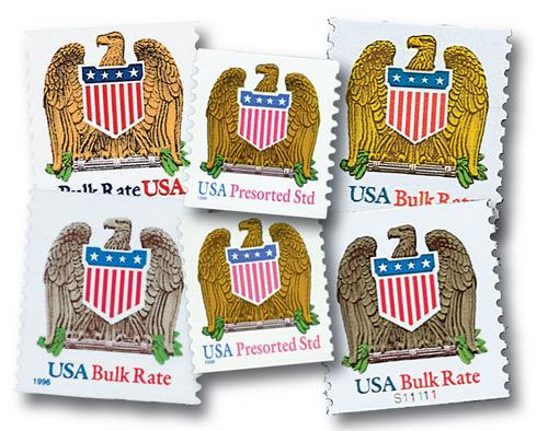 1991-98 Eagle and Shield, collection of 6 stamps