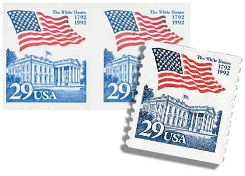 1992 29c Flag over White House, imperf pair with free normal