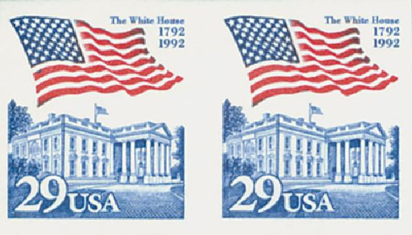 1992 29c Flag over White house impf pair