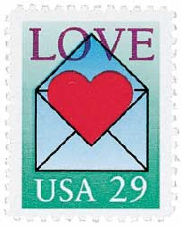1992 29c Love Series: Envelope and Heart