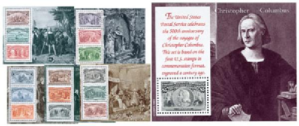U.S. #2624-29 – Issued in 1992, these stamps were printed with the same 100-year-old dyes as the original Columbians.