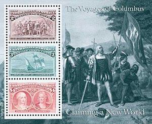 1992 2c, 3c, $4 Columbian, souvenir sheet