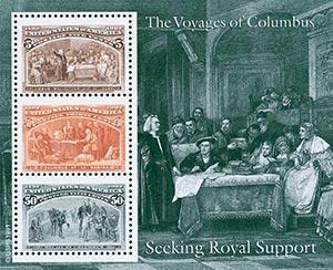 1992 5c, 30c, 50c Columbian, souvenir sheet