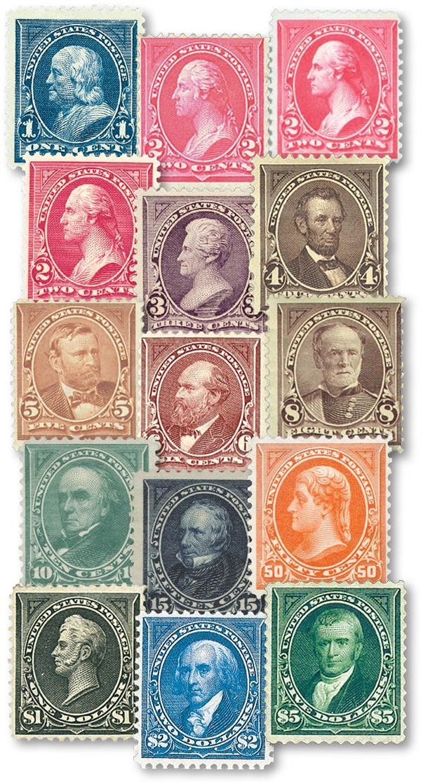 Complete set of 1895 watermarked stamps
