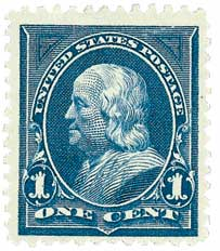1895 1c Franklin, blue, double line watermark