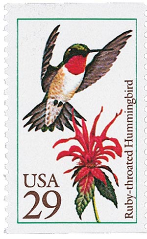 1992 29c Hummingbirds: Ruby-throated