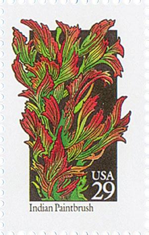 1992 29c Wildflowers: Indian Paintbrush