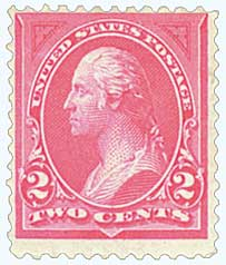 1895 2c Washington, double line watermark, type I