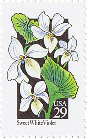 1992 29c Wildflowers: Sweet White Violet