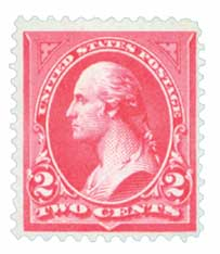 1895 2c Washington, double line watermark, type II