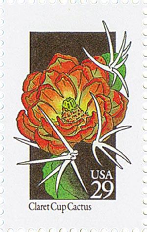 1992 29c Wildflowers: Claret Cup Cactus