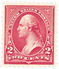 1895 2c Washington, double line watermark, type III