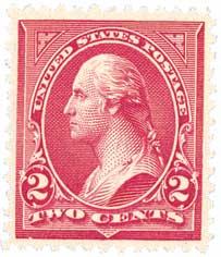1895 2c Washington, double line watermark, type III