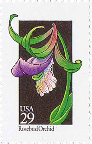 1992 29c Wildflowers: Rosebud Orchid