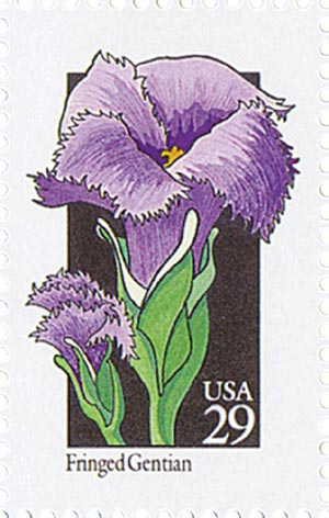 1992 29c Wildflowers: Fringed Gentian