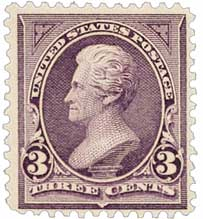 1895 3c Jackson, purple, double line watermark