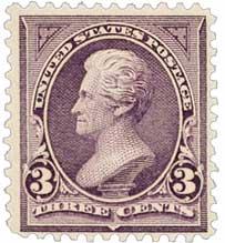 1895 3c Jackson, purple, double line watermark