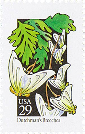 1992 29c Wildflowers: Dutchmans Breeches