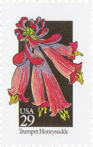 1992 29c Wildflowers: Trumpet Honeysuckle