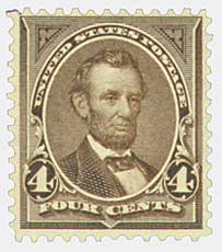 1895 4c Lincoln, dark brown, double line watermark