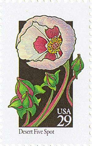 1992 29c Wildflowers: Desert Five Spot