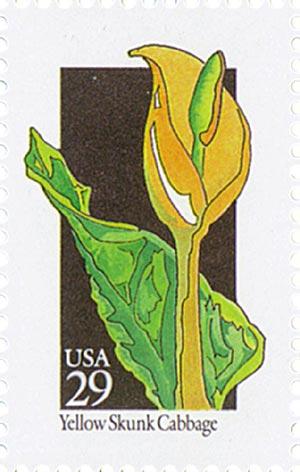1992 29c Wildflowers: Yellow Skunk Cabbage