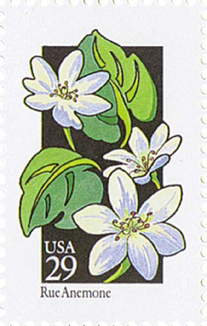1992 29c Wildflowers: Rue Anemone