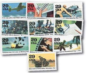 1992 29c World War II, 10 single stamps