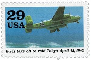 1992 29c World War II: B-25 Takes off to Raid Tokyo