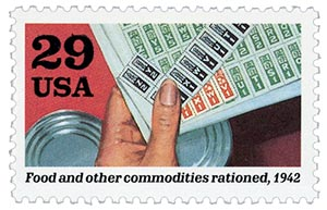 1992 29c World War II: Food and Other Commodities Rationed