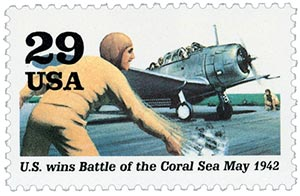 1992 29c World War II: US Wins Battle of the Coral Sea