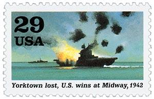 1992 29c World War II: Yorktown Lost, US Wins at Midway