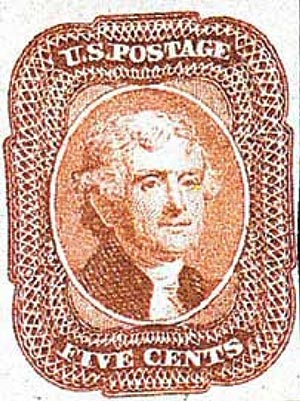 1858 5c Jefferson, brick red, type I