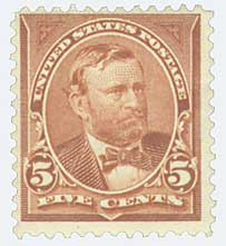 1895 5c Grant, chocolate, double line watermark