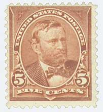 1895 5c Grant, chocolate, double line watermark