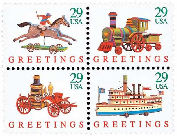 Usps Christmas Stamps.1992 29c Christmas Greetings For Sale At Mystic Stamp Company