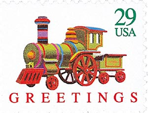 1992 29c Contemporary Christmas: Locomotive
